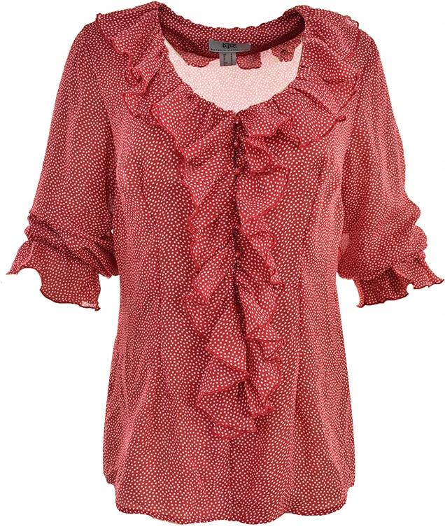 mAC1865 BONPRIX czerwona bluzka w grochy 46