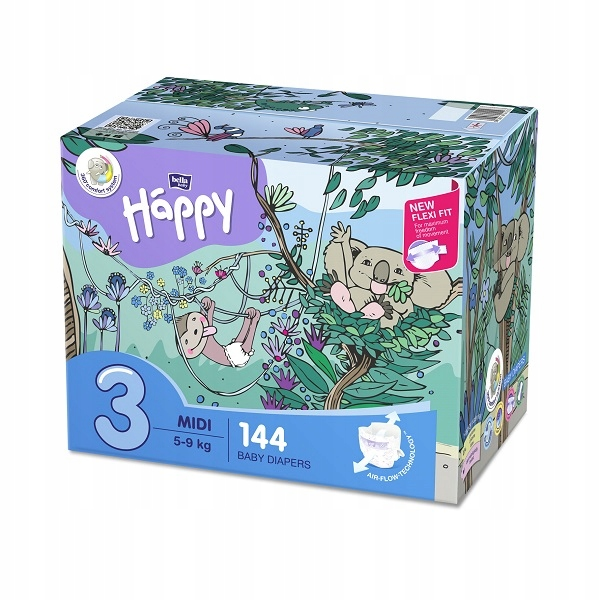 Pieluszki Bella Happy Midi Flexi Fit BOX 144 szt.