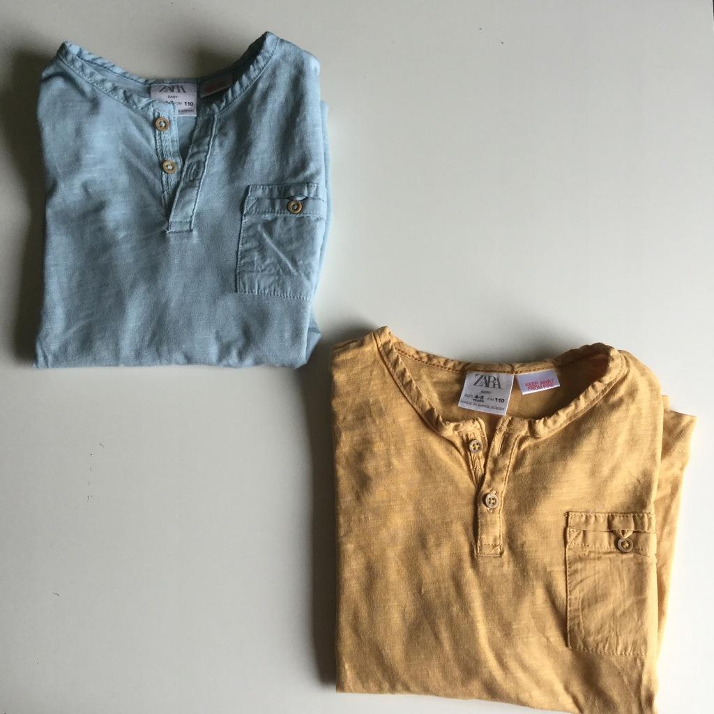 Zara 110 bluzka longsleeve guziki musztardowa