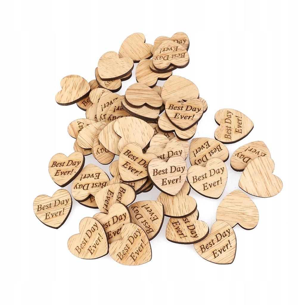 50 sztuk Zawsze Drewniane Serca Scrapbooking Ozdob