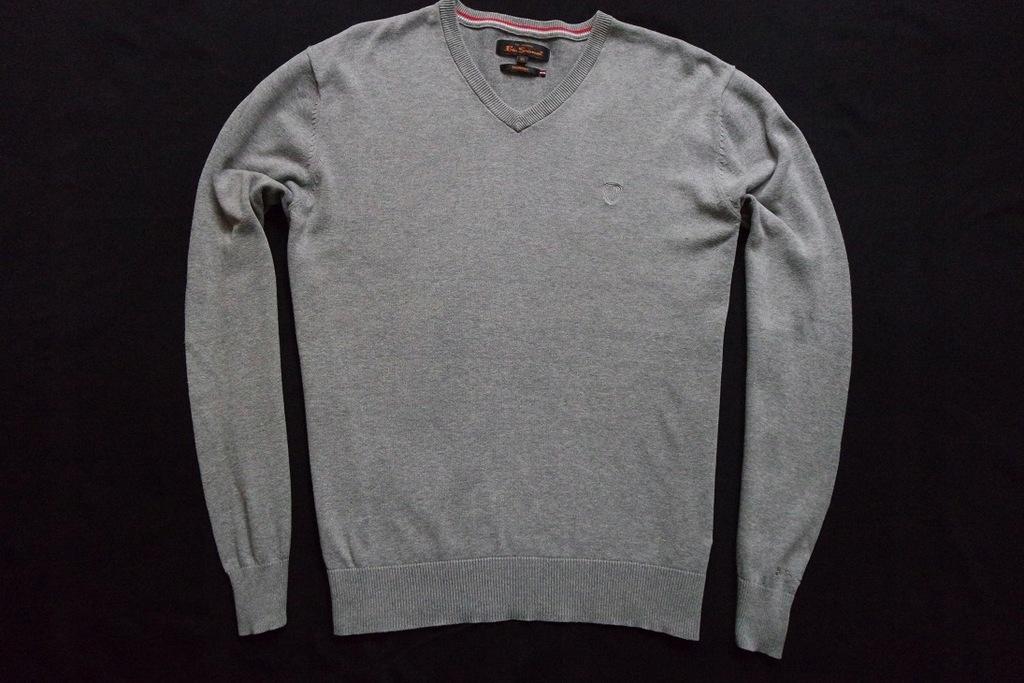 BEN SHERMAN sweter sweterek szary logowany______XL