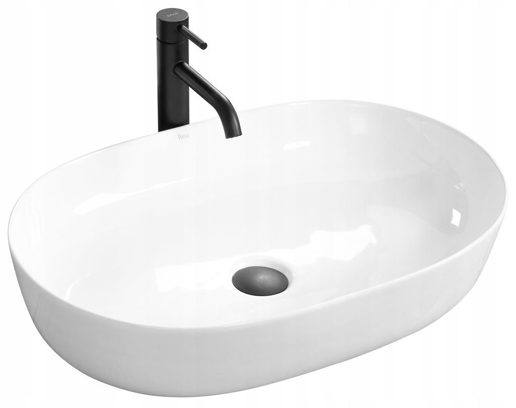 Umywalka Ceramiczna Nablatowa CLEO Biała - REA