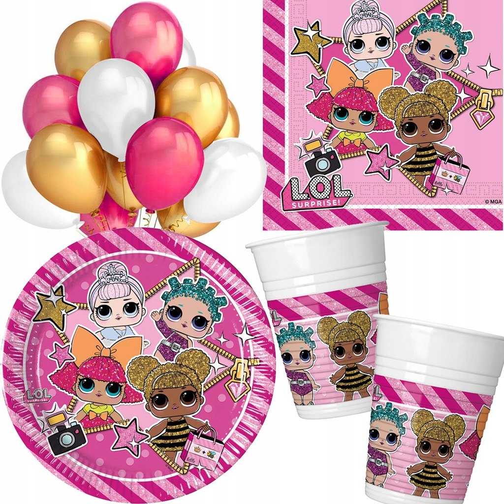 Zestaw urodzinowy LOL SURPRISE serwetki balony x46