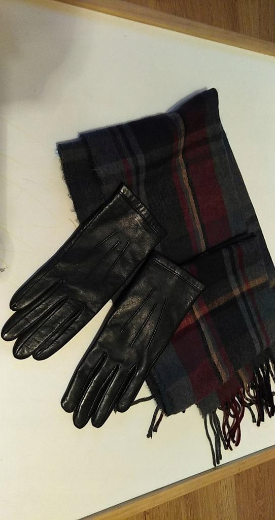 Topshop szalik, rękawiczki skórzane r S