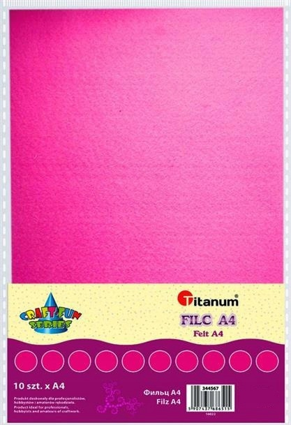 Filc dekoracyjny, 10ark format A4 róż, CRAFT-FUN