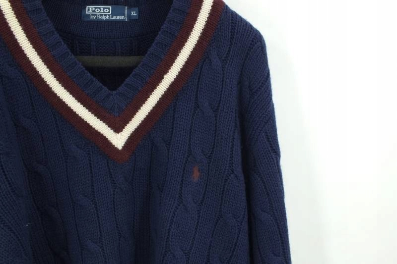 Ralph Lauren sweter męski XL wełna v-neck preppy