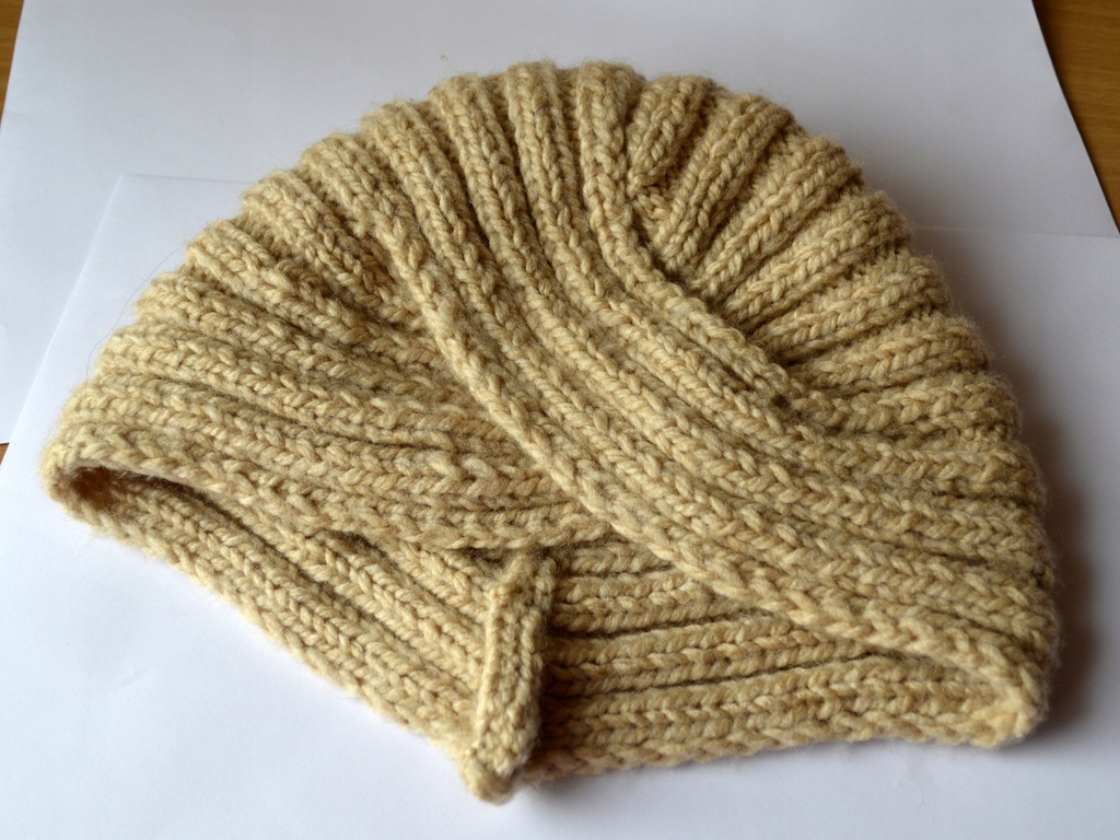 Czapka i szalik-Turban-ręcznie robiona-beżowy