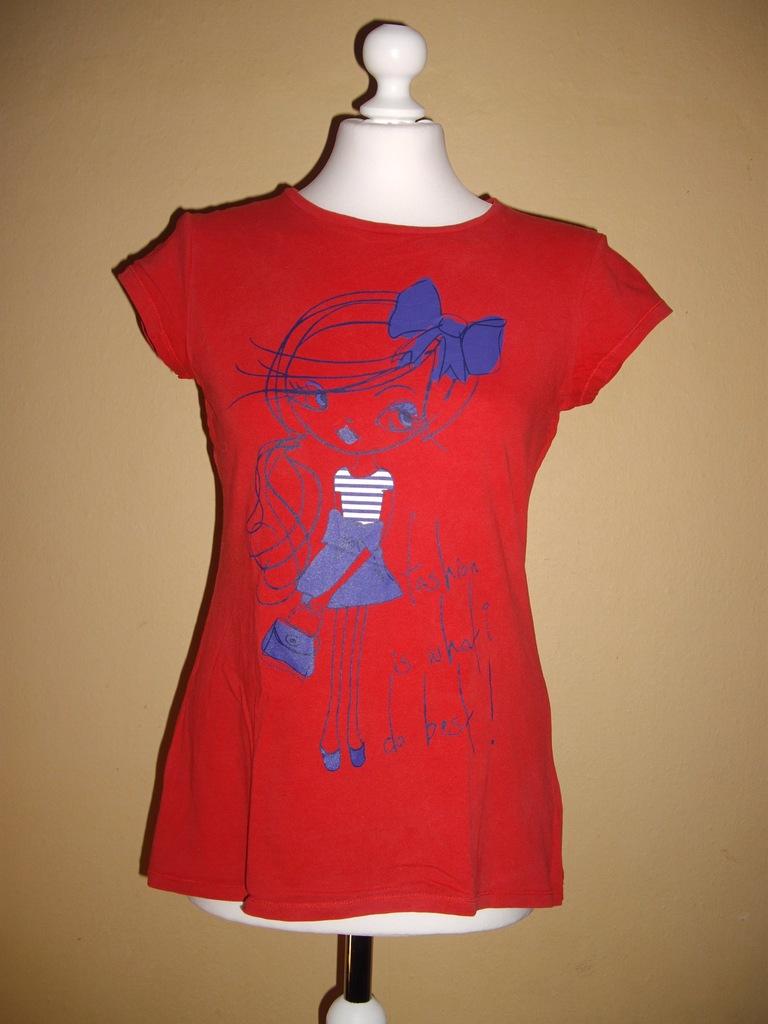 BLUZKA t-shert czerwona fashion z lalką 158-164