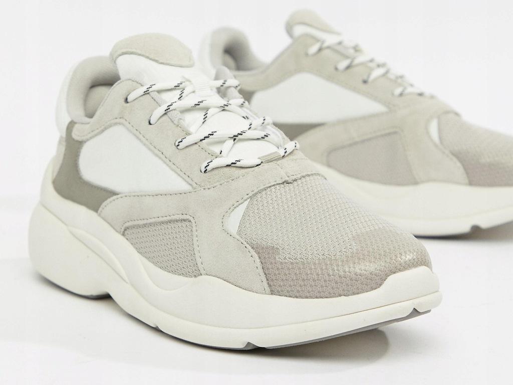 Bershka Szaro Białe Buty Sportowe 42