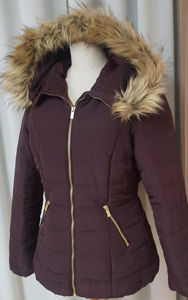 Kurtka zimowa H&M 38 M futro mega modna