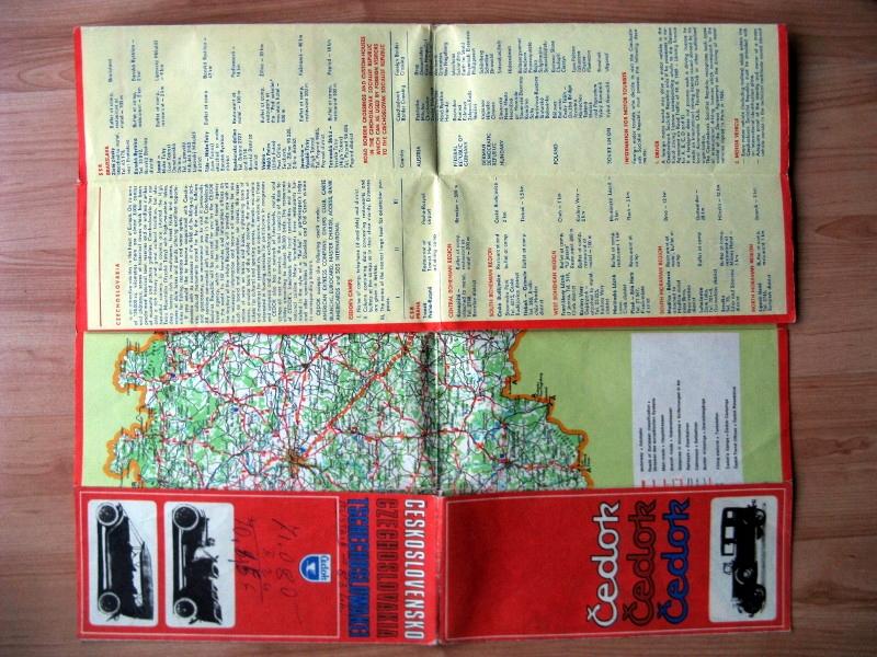 Stary plan mapa drogowa Czechosłowacja 1978