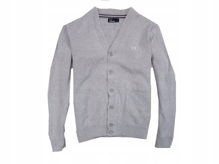 FRED PERRY - SZARY KARDIGAN SWETER CASUAL - M
