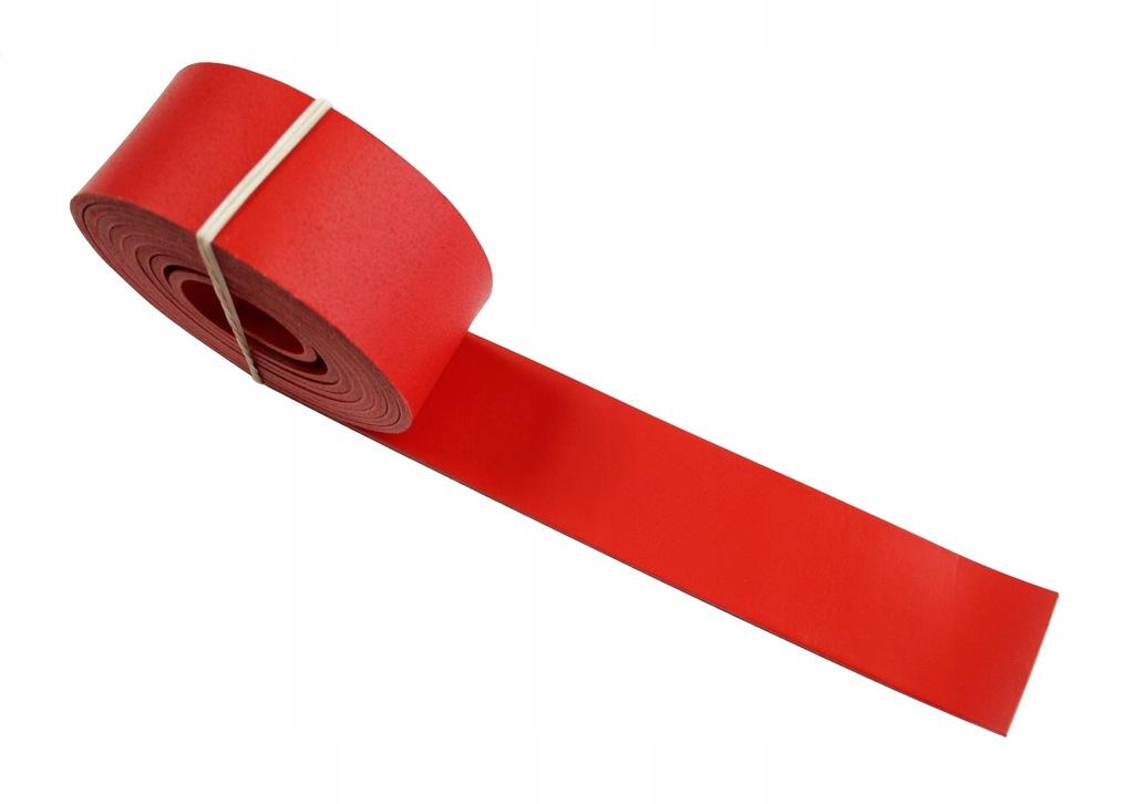 Pasek skórzany do torebki 35 mm 50 cm - czerwony