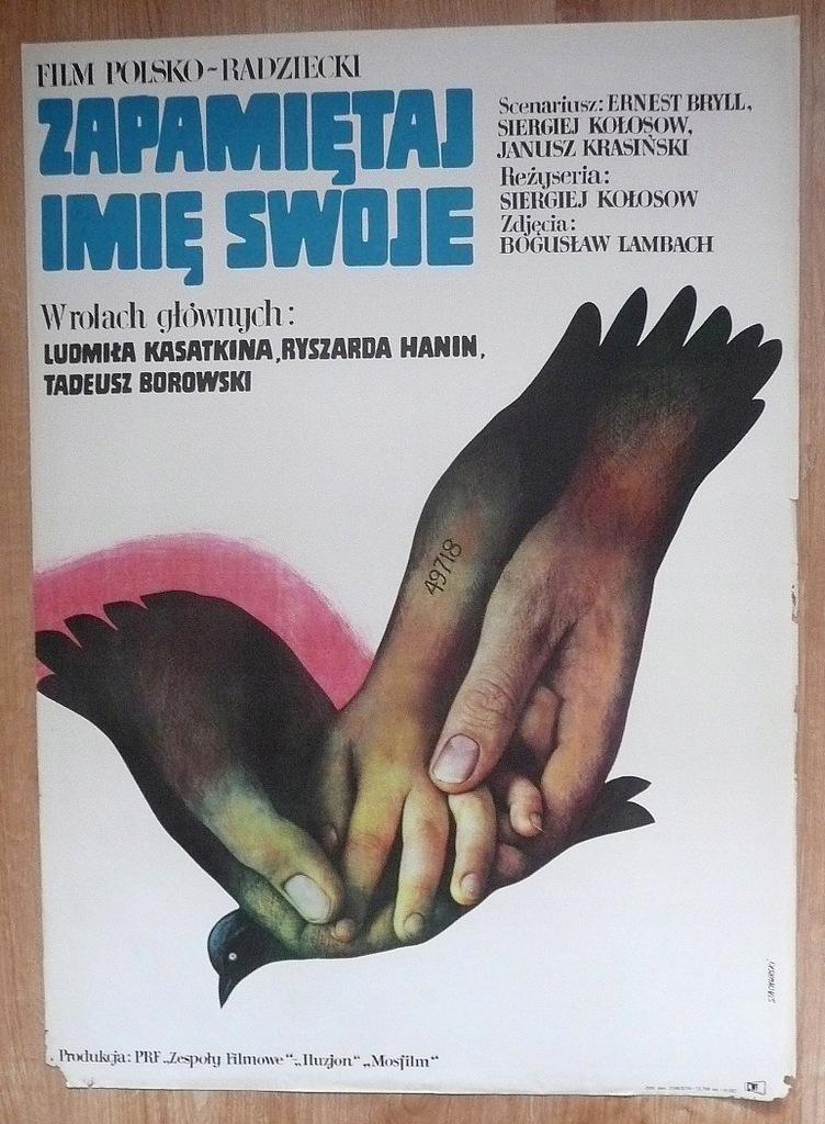 """Plakat filmowy """"Zapamiętaj imię .."""" 1974"""