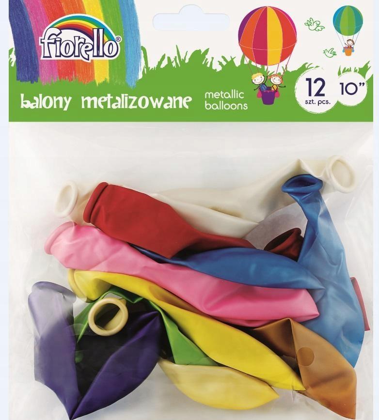 Balony Metal 10'' mix 12 sztuk FIORELLO