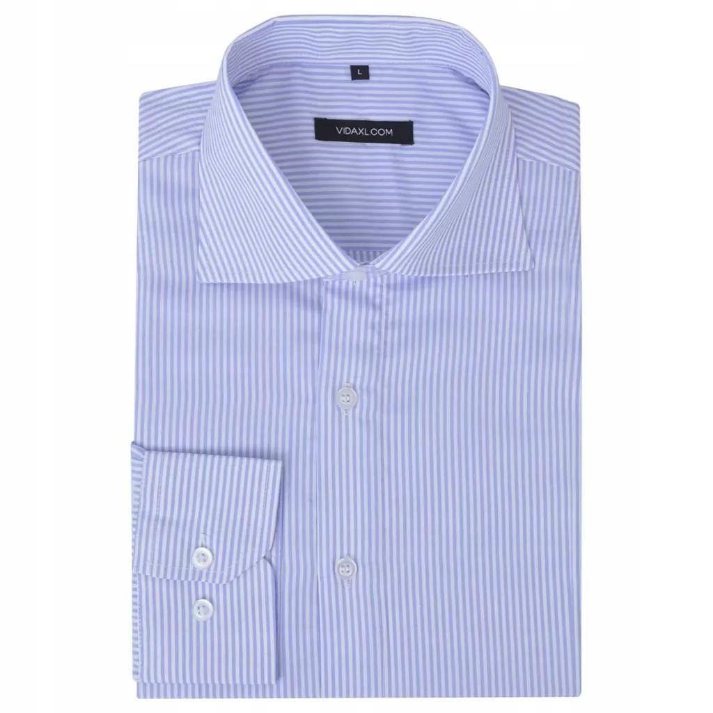 Męska koszula biała w błękitne paski rozmiar M