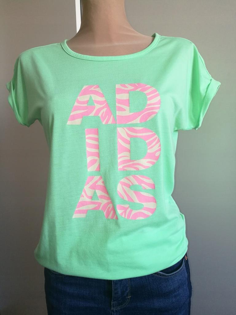Bluzka zielona z napisem ADIDAS #XS-S / 160-164 cm