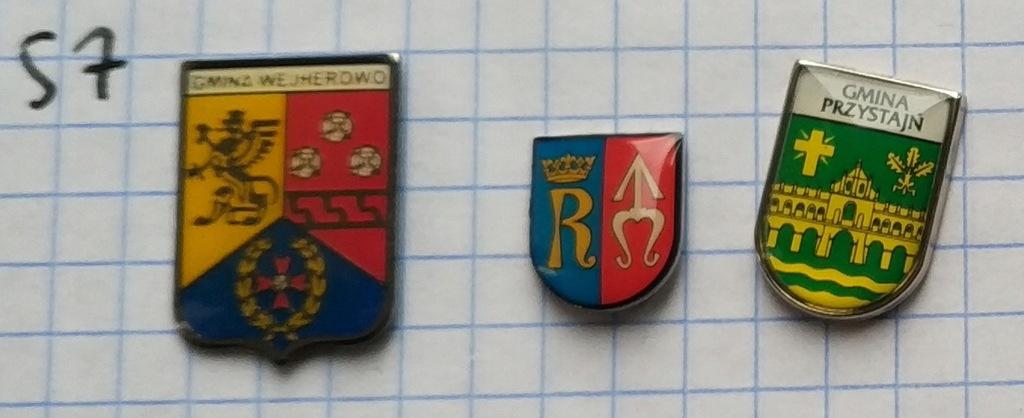 Zestaw odznak 57 Herb Powiat gmina mix heraldyka