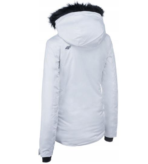 4F ciepła kurtka narciarska damska biała futerko M