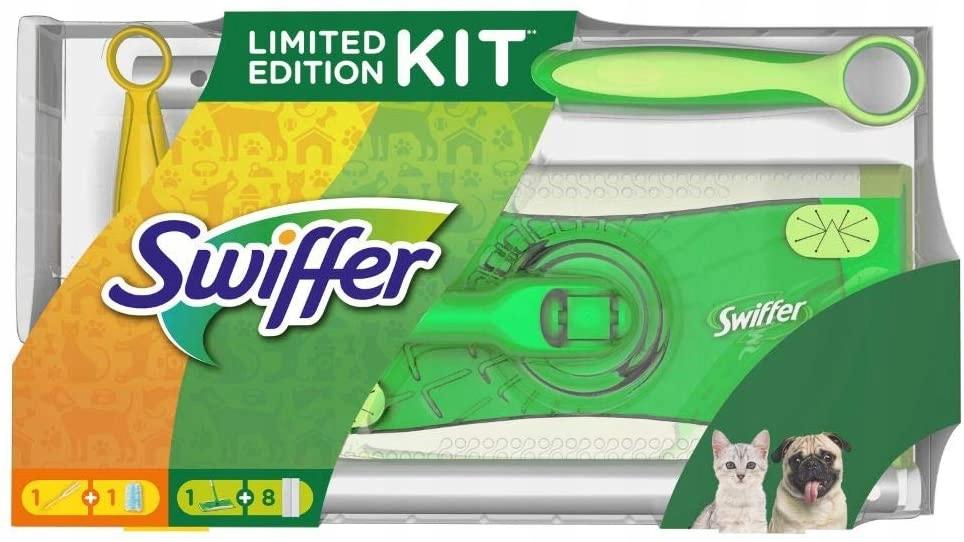 Zestaw Swiffer Kit mop + miotełka+ wkłady 8 szt.
