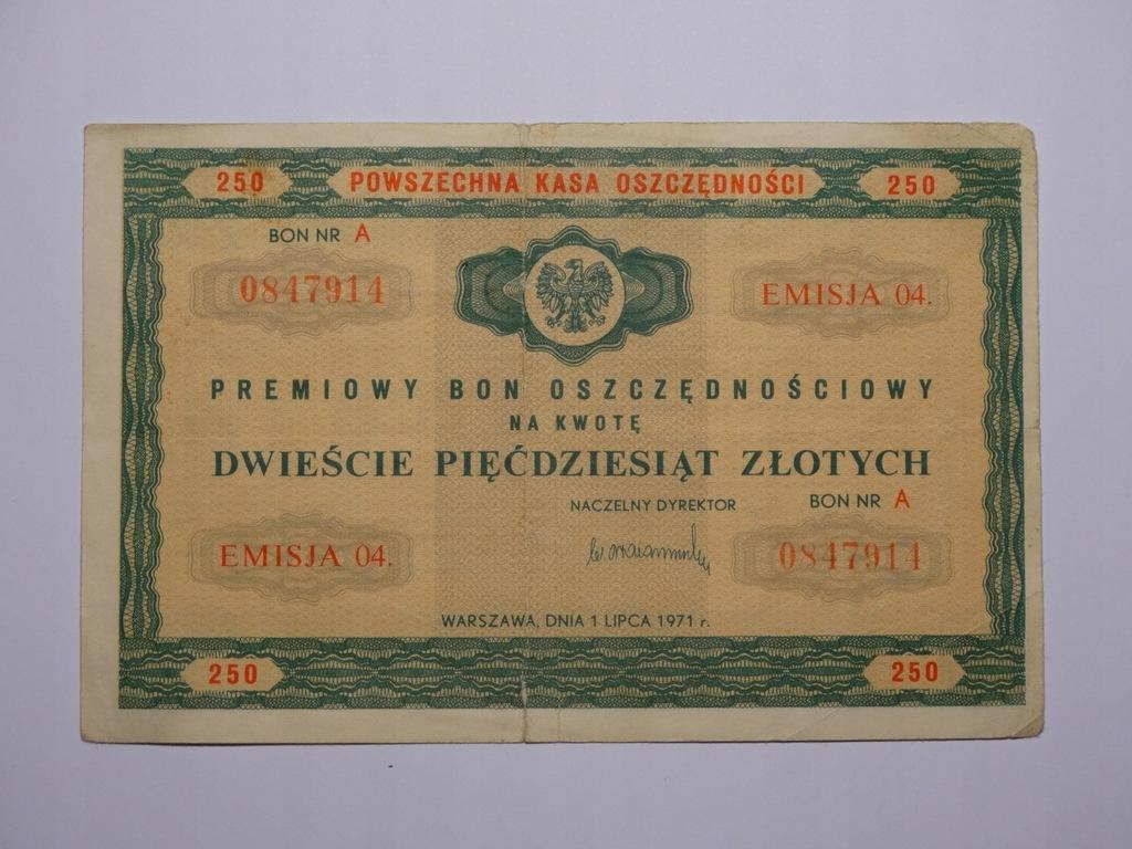 POLSKA - Bon Oszczędnościowy 250 zł. 1971r.