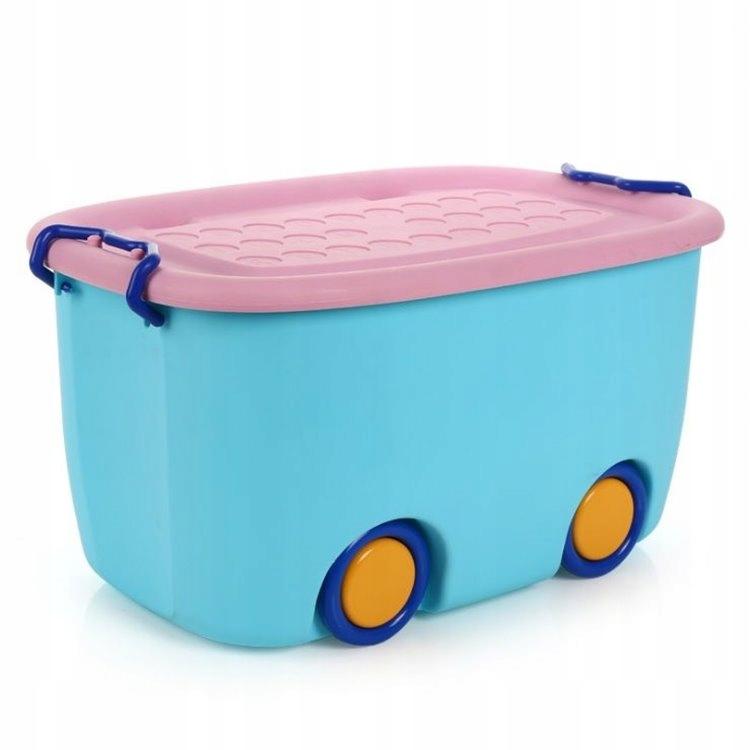 Organizer na zabawki na kółkach niebieski
