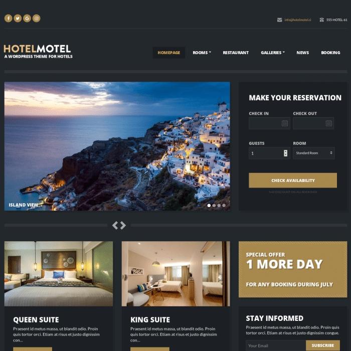 Szablon HotelMotel Hotel WordPress Theme