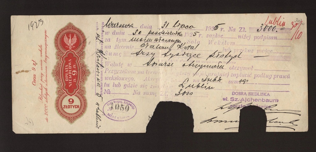 Warszawa 1925 Weksel 9zł judaika