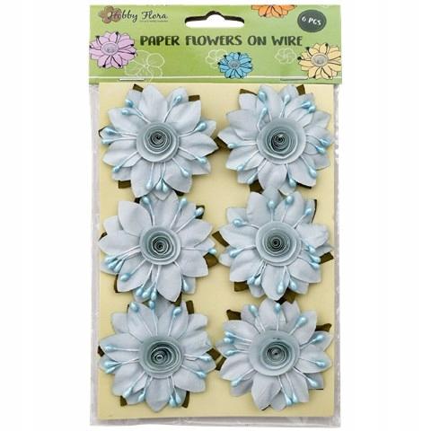 Kwiaty papierowe 6 sztuk niebieskie z pręcikami