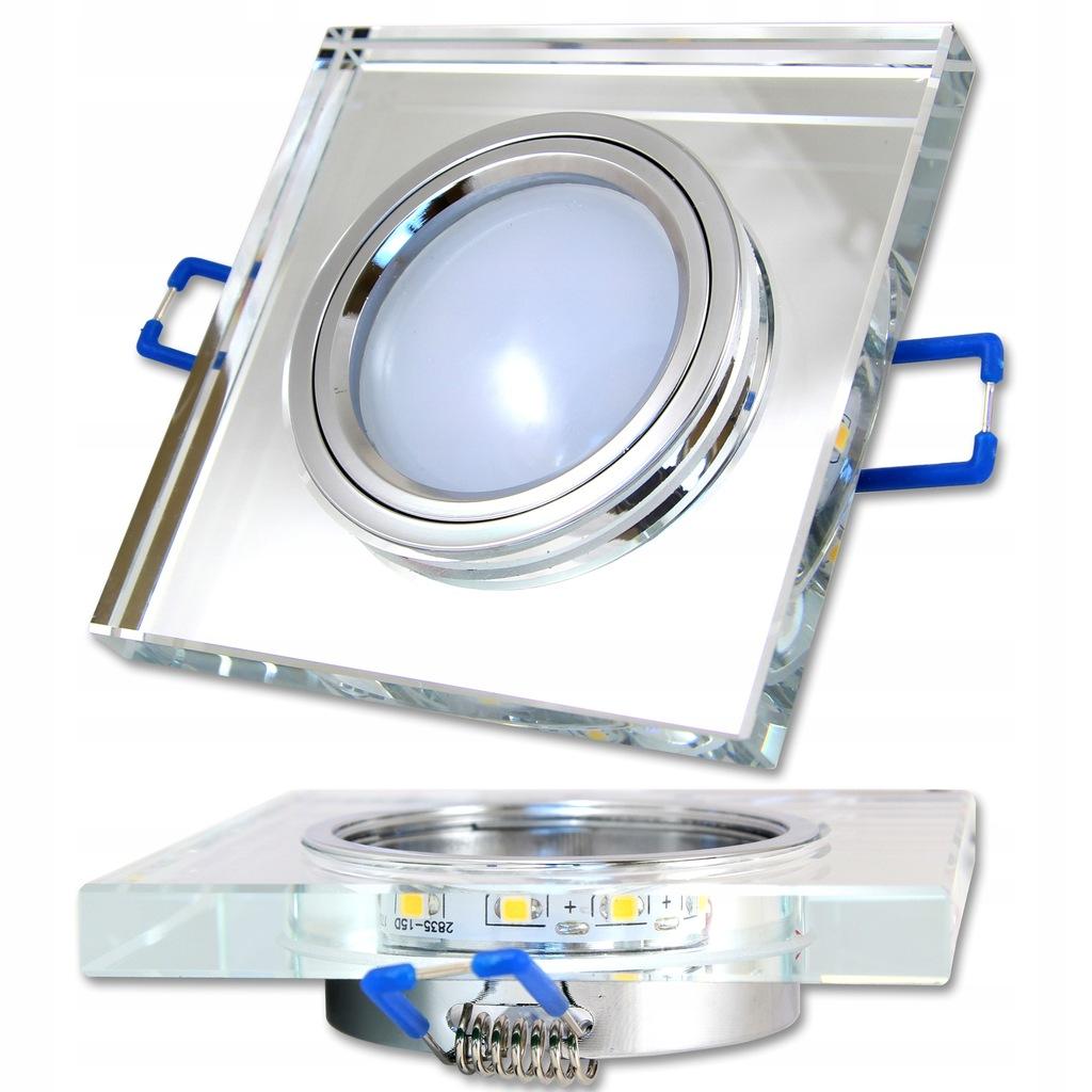 Oprawa halogenowa sufitowa +TAŚMA LED szklana GU10