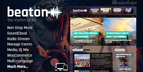 Szablon Themeforest Beaton Music Radio Events WP