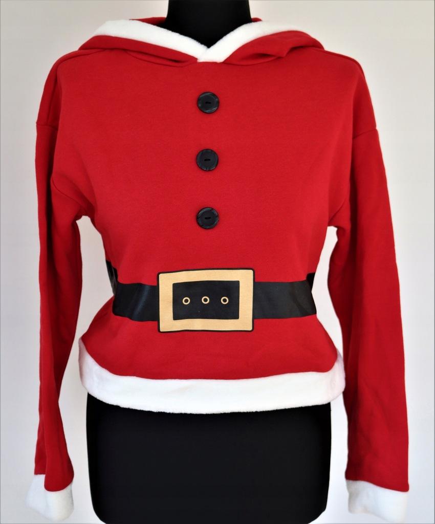 Czerwono biała bluza Mikołaj H&M S świąteczna