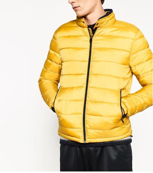 kurtka puchowa żółta zara męska
