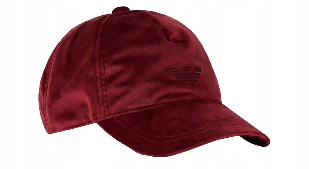 EMPORIO ARMANI efektowna czapka z daszkiem BORDO