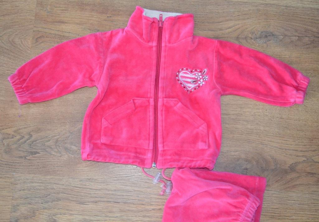 Pluszowy różowy dres: bluza + spodnie 68 aplikacja