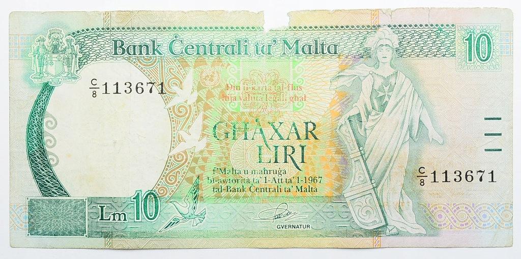 26.Malta, 10 Lir 1967 (1994) rzadki, St.3/4+