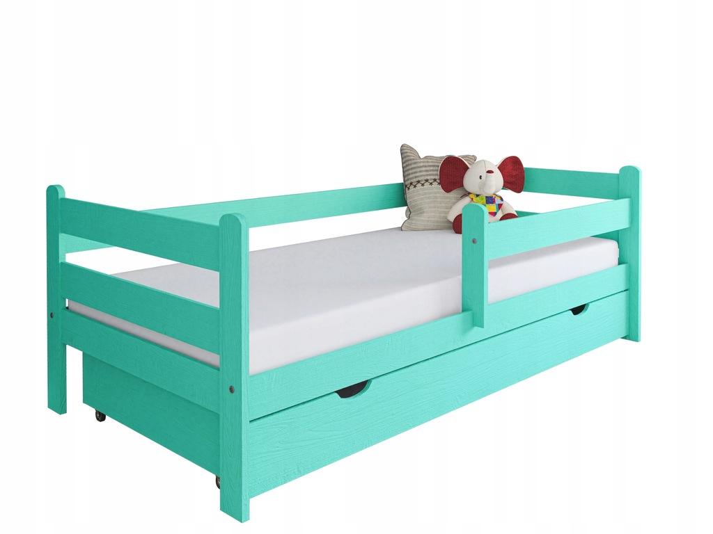 Łóżko dla dziecka z drewna Kevin 180x80 miętowe