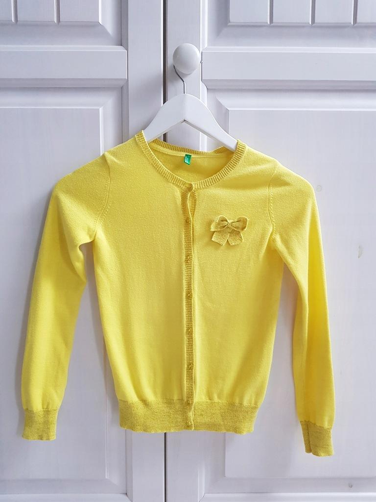 Benetton żółty sweterek 130 7-8 lat