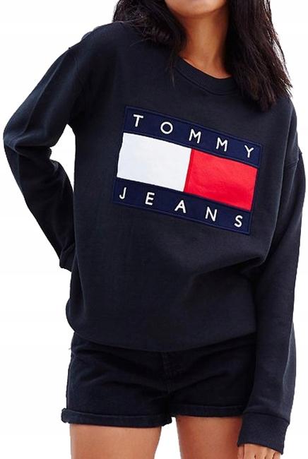 Nowa bluza z kapturem Tommy Hilfiger Jeans dresowa czarna