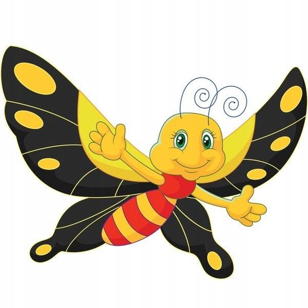 Motyl z czarnymi skrzydłami 30x30cm naklejka dziec