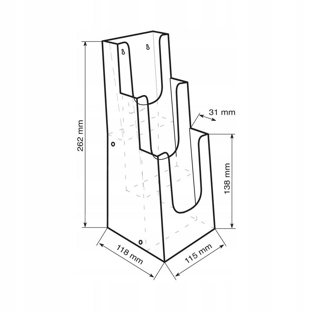 Stojak kaskadowy na ulotki - 3 kieszenie 1/3 A4
