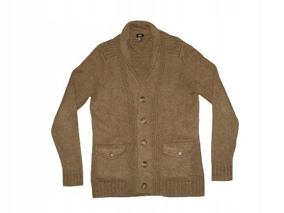 H&M Italy Sweter kardigan brąz 70% wełna M