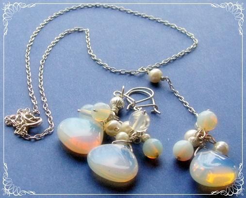 Biżuteria ślubna srebro plus opale