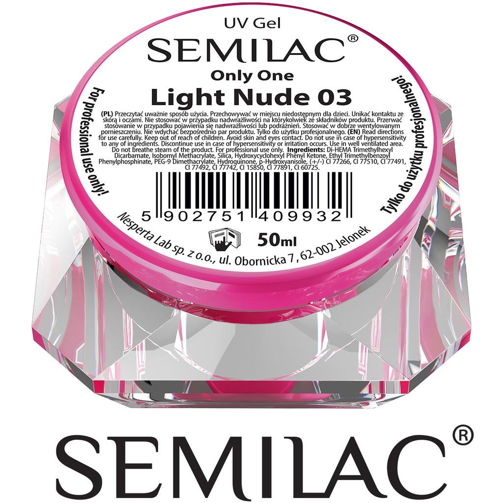 Semilac UV Gel Only One Light Nude 03 delikatnie beżowy