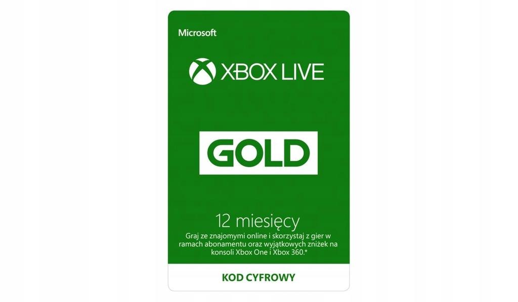 Xbox Live Gold 12 miesięcy 1 ROK PL/EU