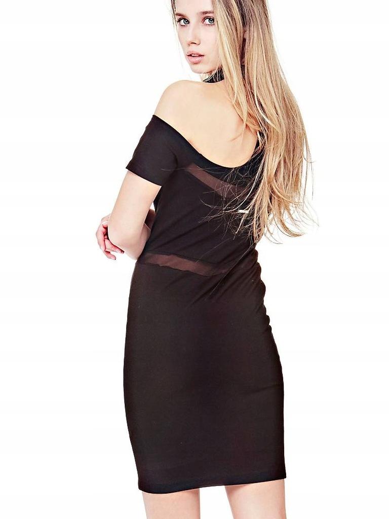 GUESS Ołówkowa czarna sukienka choker (XS)