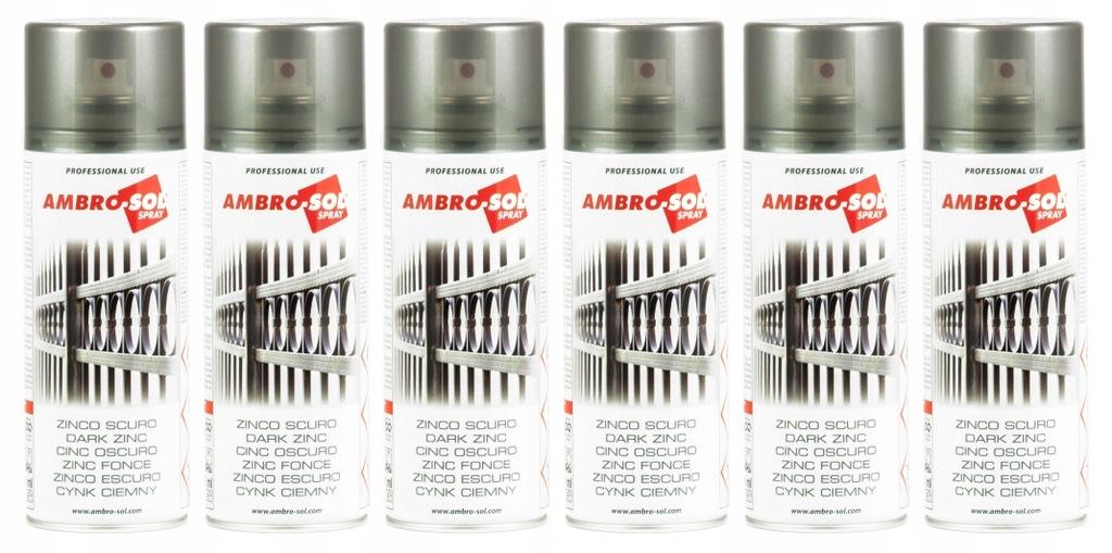 Cynk ciemny 400ml AMBRO SOL spray 6 sztuk