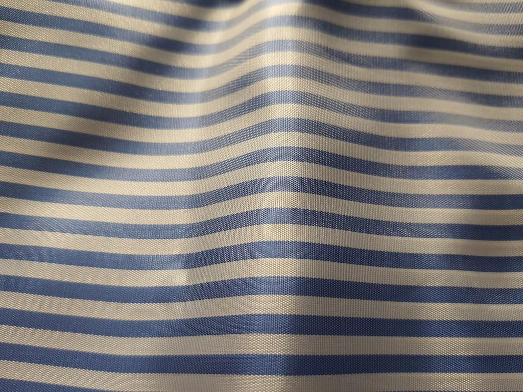 Włoska Tkanina Materiał Paski Niebieskie 1.5 m