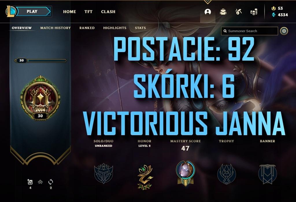 Konto League Of Legends LoL EUNE Victorious Janna