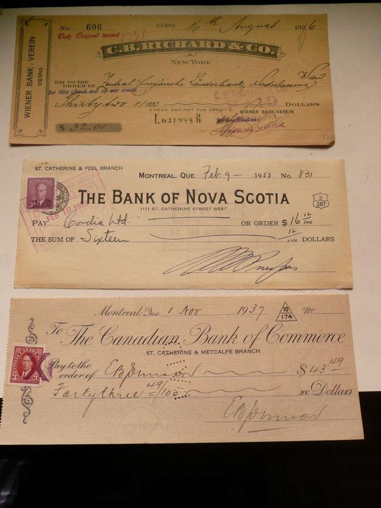 3 weksle: Wiedeń 1926, Montreal 1937 i 1953